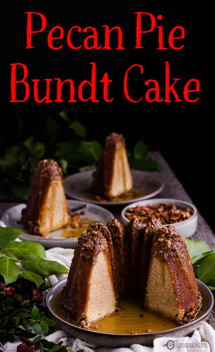 Pecan Pie Bundt Cake combines a classic pecan pie recipe with moist sweet cake using Greek Honey instead of corn syrup. Dramatic holiday dessert for your Christmas dinner and party. #PecanPie #dessert #bundtcake Spoonabilities.com