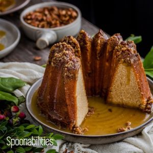 Pecan Pie Bundt Cake with brown sugar syrup was made in the shape of the Kugelhopf Bundt pan. Spoonabilities.com