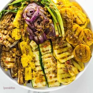 Grilled Summer Vegetables with Black Olive Tapenade Vinaigrette