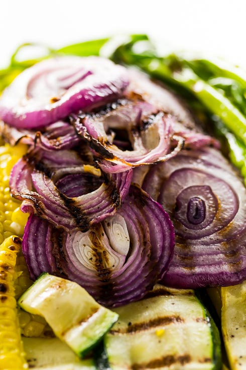 Red onion close up from the Grilled Summer Vegetables Recipe. Spoonabilities.com