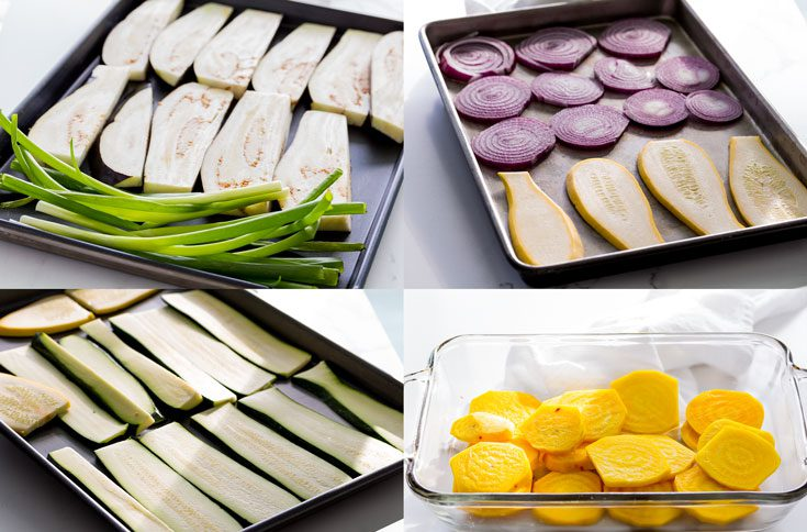 Sliced eggplant, red onion, yellow squash, zucchini & green onions in a baking tray. Also, sliced yellow beets in a glass baking dish. Spoonabilities.com