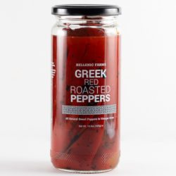 Greek Roasted Red Peppers in a glass jar, from Hellenic Farms