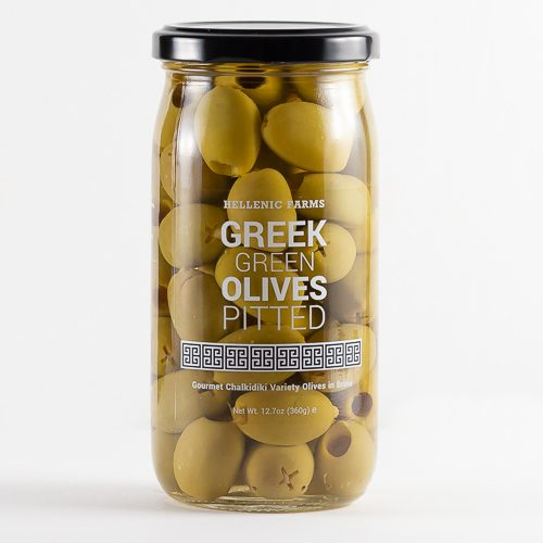 Greek Pitted ChalkidikiGreen Olives in a glass jar from Hellenic Farms