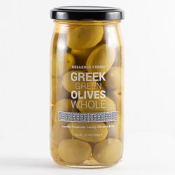Greek Chalkidiki Whole Green Olives in a glass jar from Hellenic Farms