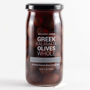 Jar of Greek Kalamata Olives Whole from Hellenic Farms. Available from Spoonabilities