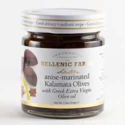 Anise-marinated Kalamata Olives imported by Hellenic Farms. Available from Spoonabilities.com