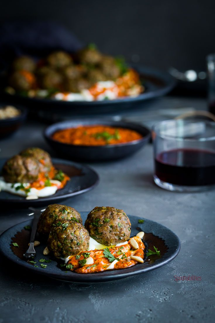 Three Spiced lamb meatballs are easy to make and packed with Mediterranean flavors with spices and herbs like fresh mint, parsley, cilantro, cumin, turmeric, paprika, oregano, onion & garlic. Spoonabilities.com