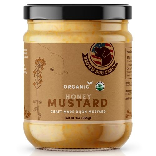 Organic Honey Dijon Mustard made in small batch by Brown Dog Fancy Condimentswith organic ingredients and sweetened with organic honey. Spoonabilities.com