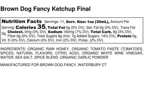 Organic Original Ketchup Nutrition label