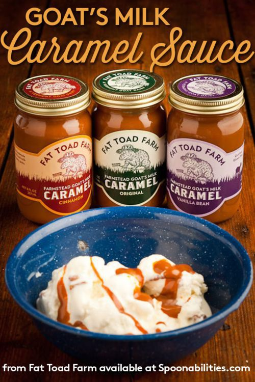 Goats Milk Caramel Sauce by Fat Toad Farm Original, Cinnamon, and Vanilla Bean flavors. Spoonabilities.com