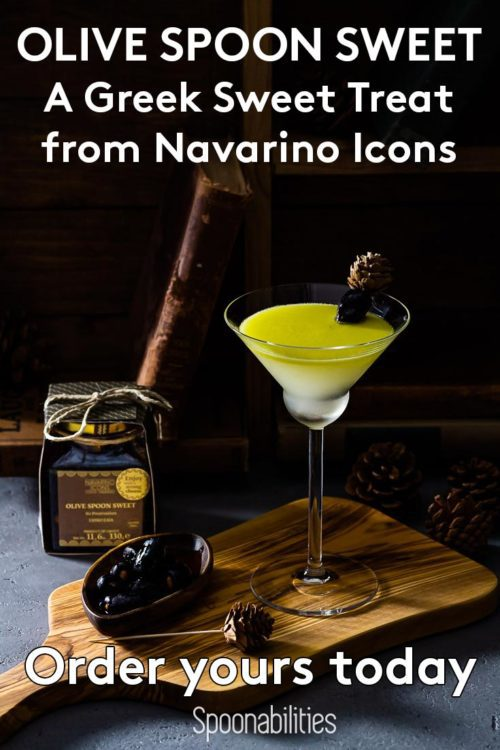 Cocktail made with Navarino Icons Olive Sweet Treat