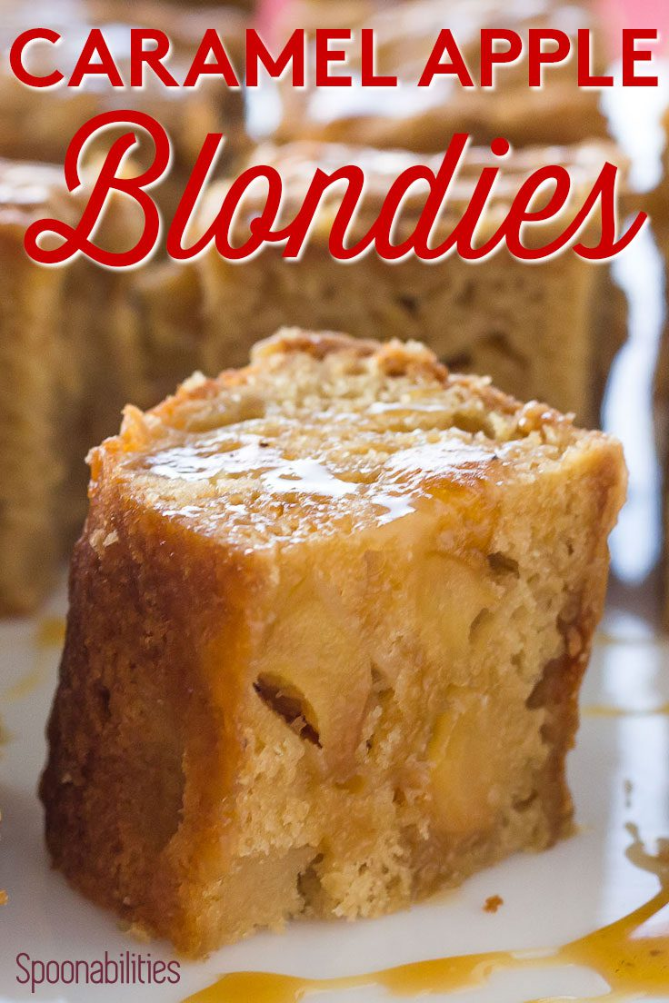 Closeup shot of Caramel Apple Blondies, an addictive dessert with pieces of apples that have been simmered in Caramel Sauce