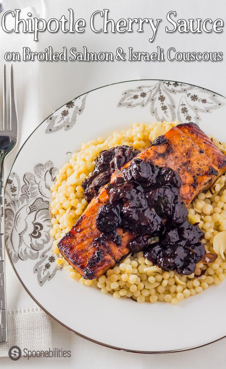 Chipotle Cherry Sauce recipe is perfect for broiled salmon for a special dinner. A sweet and tart sauce with heat notes from the Chipotle. Featuring Black Cherry Jam, available at spoonabilities.com