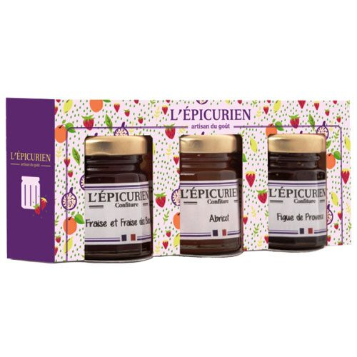 L\'Epicurien Mini Preserves Gift Set Strawberry, Fig, Apricot