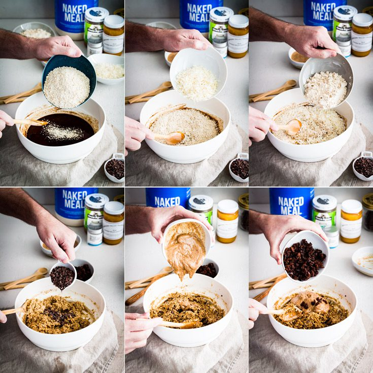Step by Step process making the Protein Energy Bites. Step 7 to 12 steps. Spoonabilities.com