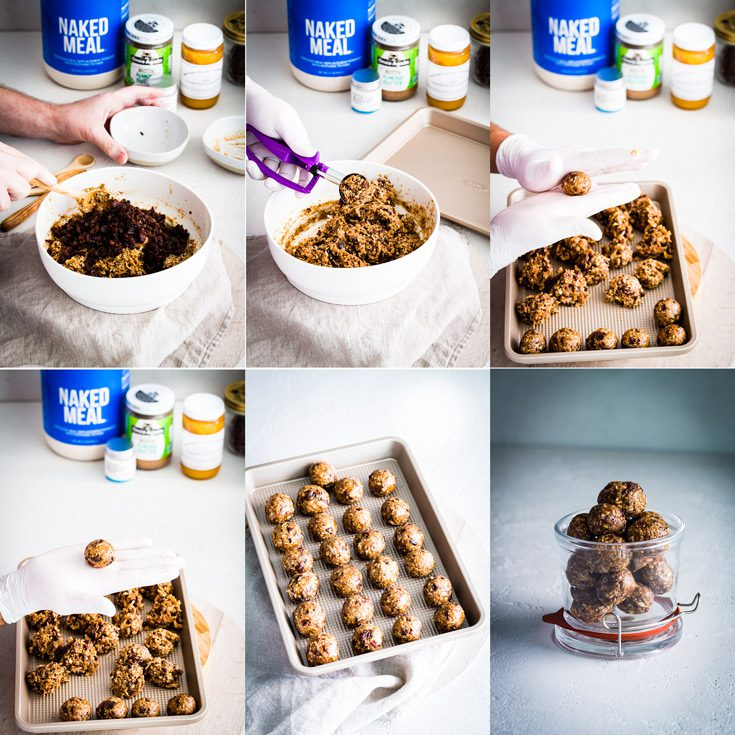 Step by Step process making the Protein Energy Bites. The last steps. Spoonabilities.com