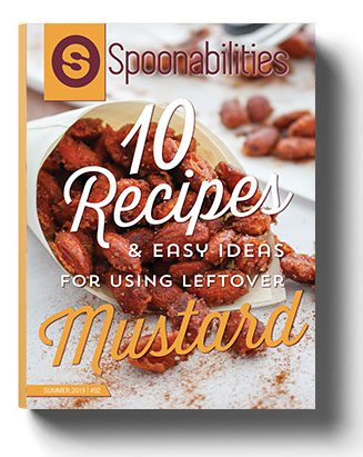 """Spoonabilities eRecipebook cover page for """"10 Recipes & Easy Ideas for using leftover Mustard"""""""
