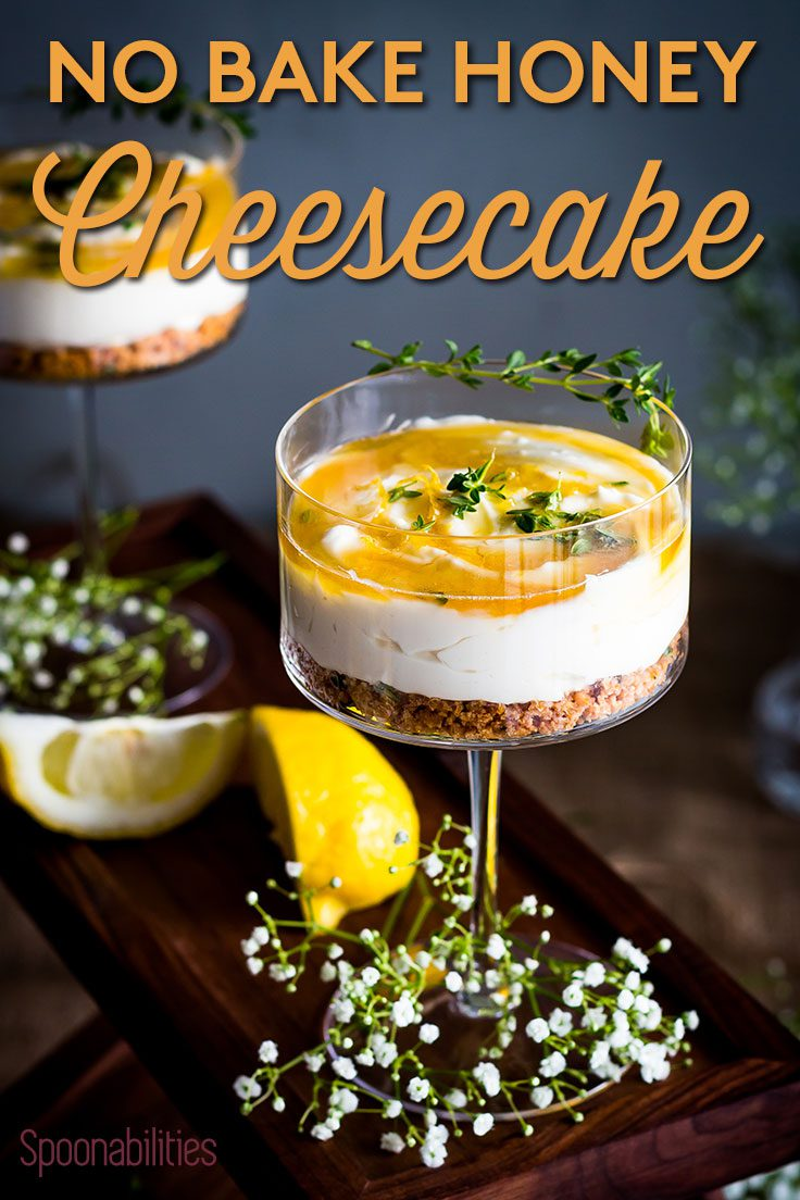 Honey Cheesecake with Honey-Thyme Drizzle | No-bake Dessert