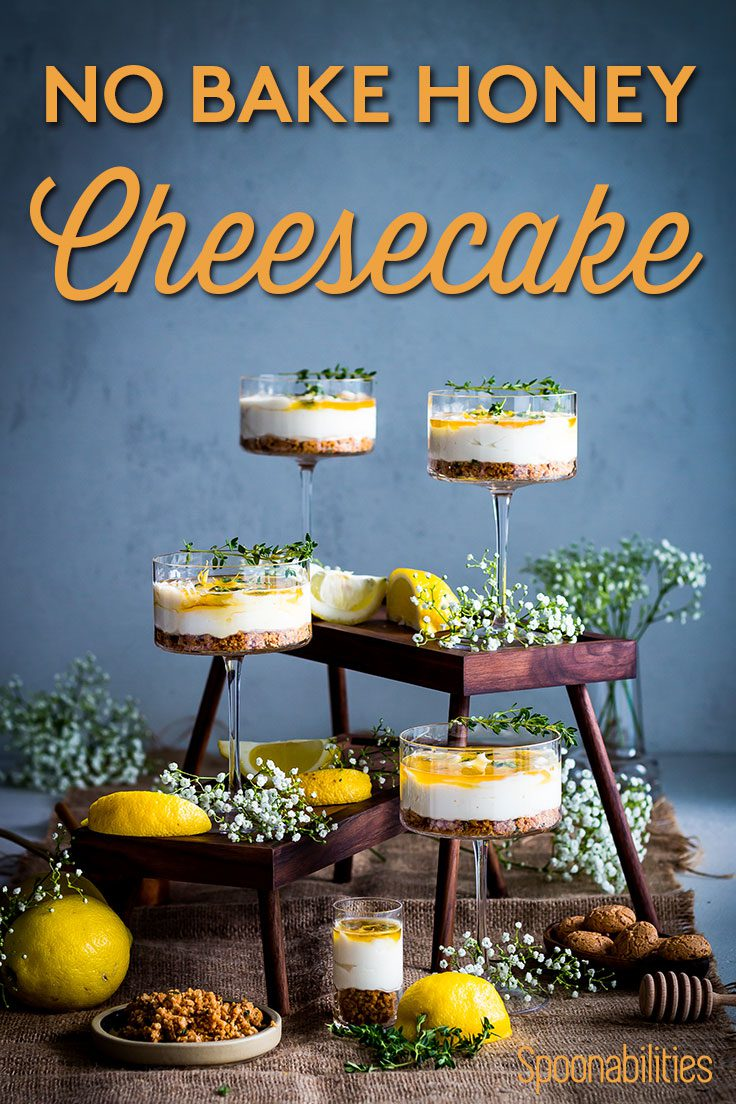 Four No Bake Honey Cheesecakes in individual glasses
