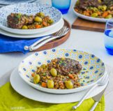 Mediterranean Chicken Thighs with Lentils & Greek Olives