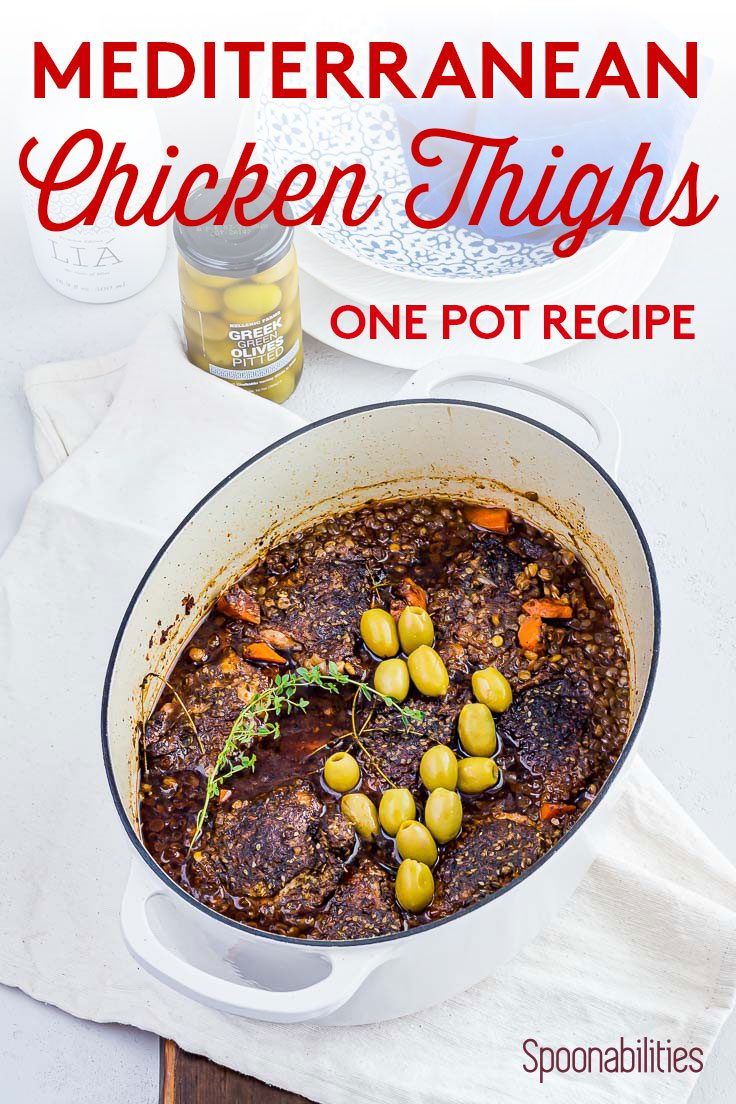 Mediterranean Chicken Thighs in white Dutch Oven pot