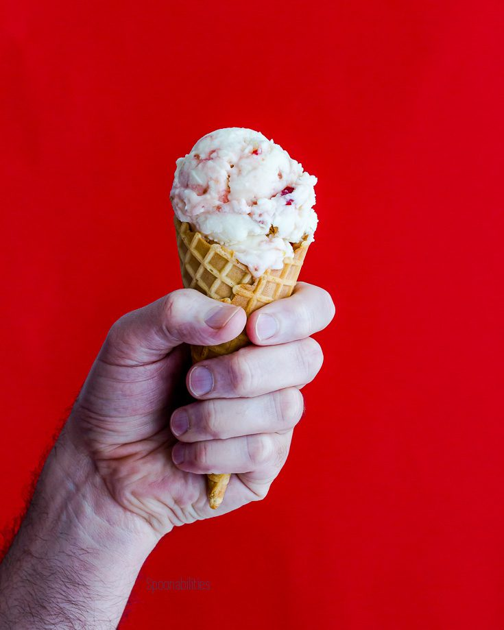 Two balls of ice cream in a cone with a hand holding the cone with a red background. Spoonabilities.com