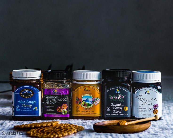 We will give away the same assortment of the honey we sent you; Manuka 5+, Manuka Honey Blend, Multiflora, Blue Borage and Leatherwood. Spoonabilities.com