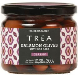 jar of TREA Kalamon Olives with Sea Salt