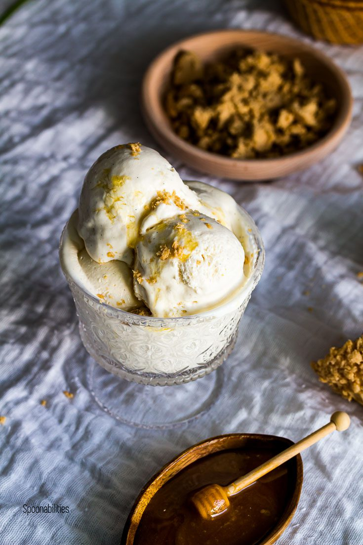 Homemade Labneh ice cream topped with sesame halva and Leatherwood Honey. Spoonabilities.com