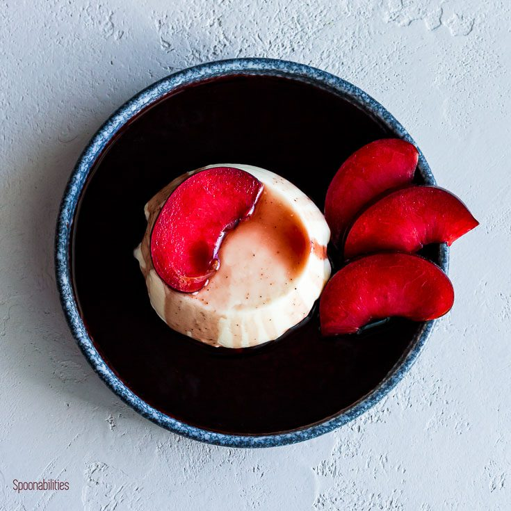 Labneh Kefir Panna Cotta with Red Wine Syrup is light Italian dessert. 10 leftover red wine syrup uses in sweet & savory recipes & 13 Panna Cotta toppings. Spoonabilities.com