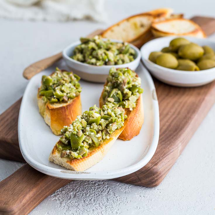 Closeup of Greek Green Olive Crostini