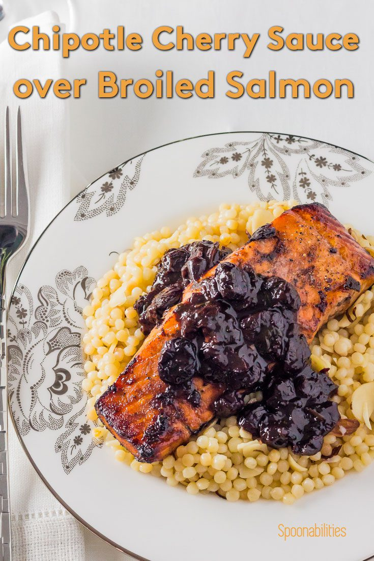 Chipotle Cherry Sauce over Broiled Salmon