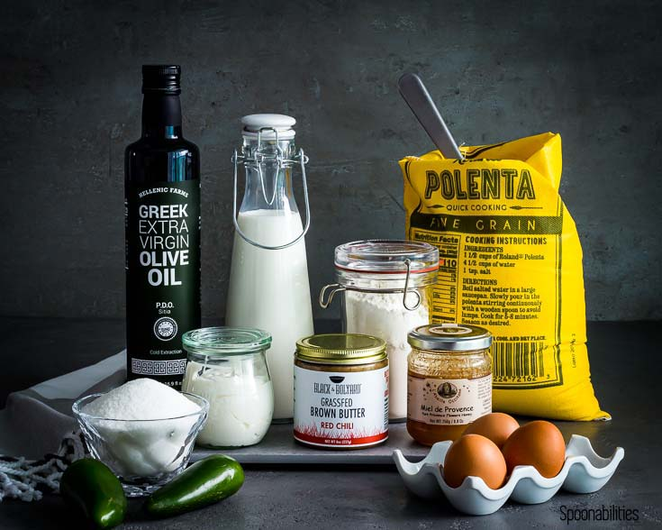 Polenta, brown butter, Greek EVOO and other ingredients for Jalapeno Cheddar Cornbread