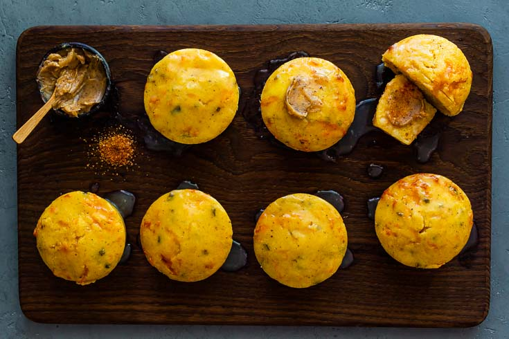 wooden tray of Jalapeno Cheddar Cornbread muffins