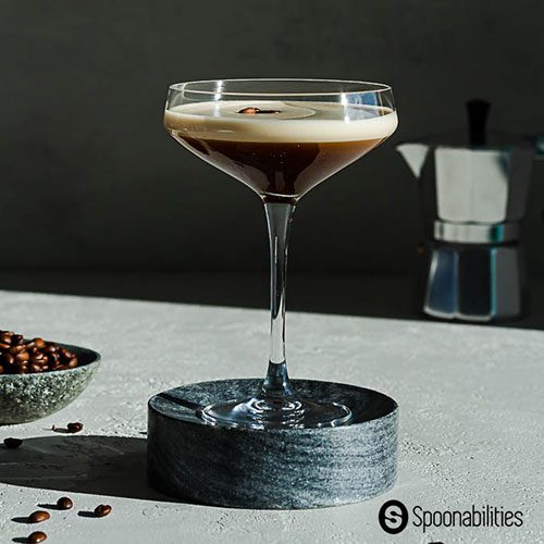 centered side view closeup of an Espresso Martini Coffee Cocktail