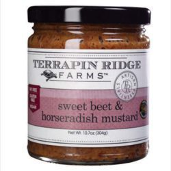 Sweet Beet and Horseradish Mustard is perfect for roast beef, steak, grilled salmon or crab cakes. The combination beets and horseradish with whole grain gourmet mustard create a distinctive mustard that can be added to a variety of recipes.