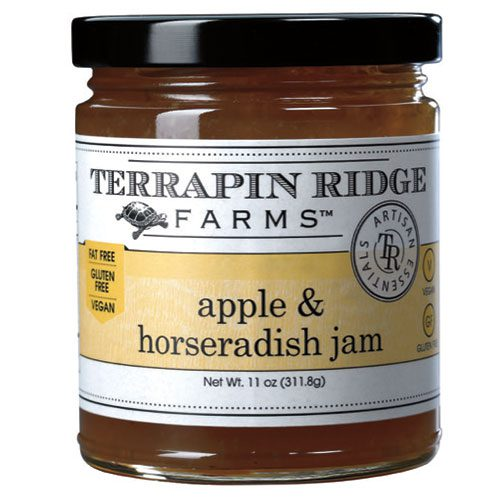 Apple Horseradish Jam is made with the unusual combination of naturally sweet apple juice and the hearty kick of horseradish. It goes beautifully with fish or pork. And it is the perfect partner for a variety of cheeses and meats for your next cheeseboard.