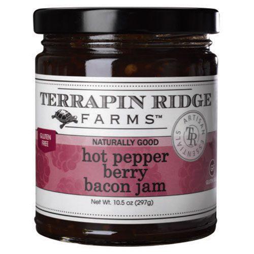 Hot Pepper Berry Bacon Jam is made with sweet raspberries and strawberries, roasted red peppers, and real bacon. It has the perfect blend of sweet, spicy and smoky! It pairs splendidly with cheeses, and is an easy, delicious marinade or finishing sauce for pork or poultry. For an easy, quick, delicious appetizer, simply blend with cream cheese and serve with crackers Spoonabilities.com