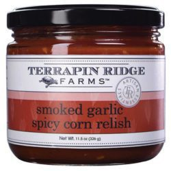 Smoky Garlic Spicy Corn Relish is made with smoked garlic, roasted red bell peppers, fiery habaneros, corn and lots of onion. The unique flavor gives everything from tortilla chips to grilled chicken and seafood just the right amount of kick. Spoonabilities.com