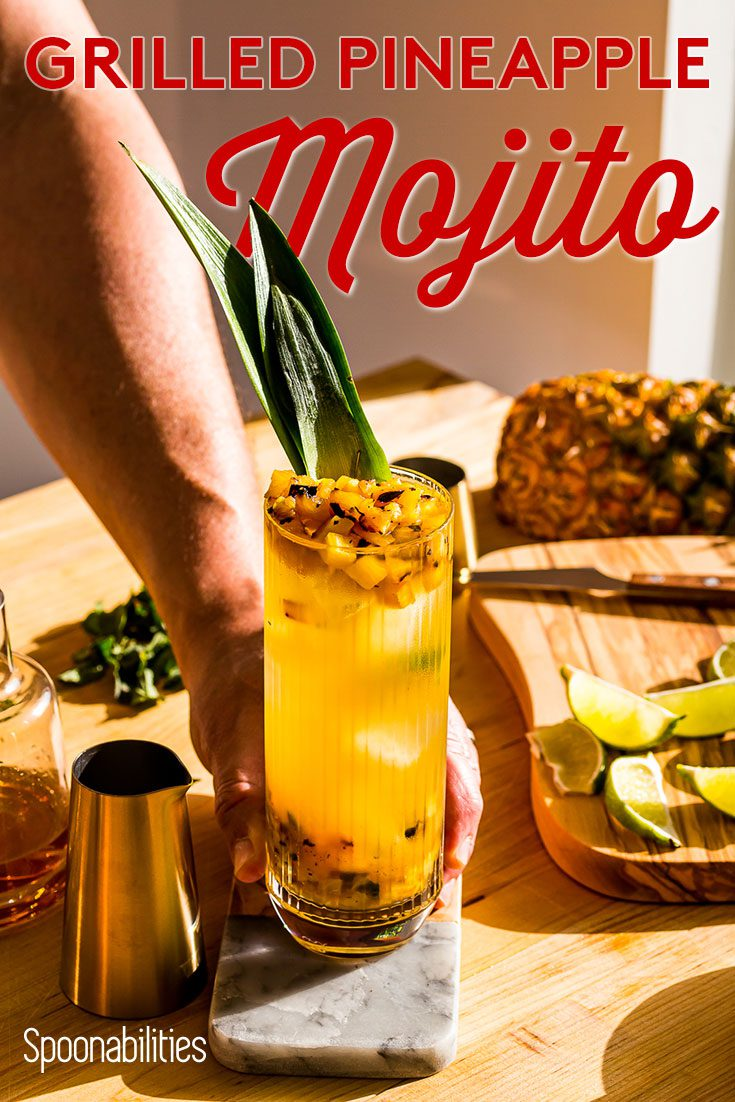 presenting the grilled pineapple mojito