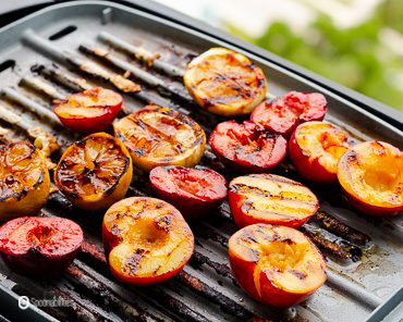 Lemons, plums on the grill. Recipe at Spoonabilities.com
