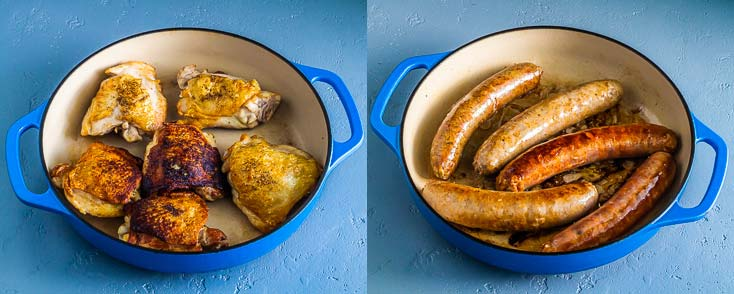 Two photos in a blue cast iron casserole: One with browned chicken and another one with browned sausage. Recipe at Spoonabilities.com