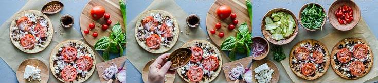 Steps from fourth to six photos layering the vegetable pizza with store-bought cauliflower pizza crust, and Olive Bruschetta by Navarino Icons. Recipe at Spoonabilities.com