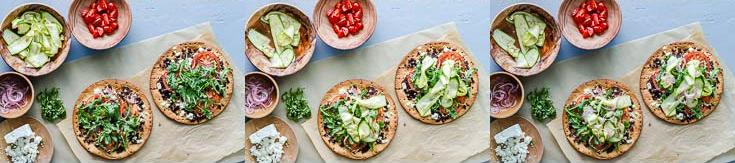 Steps from seven to nine photos layering the vegetable pizza with store-bought cauliflower pizza crust, and Olive Bruschetta by Navarino Icons. Recipe at Spoonabilities.com