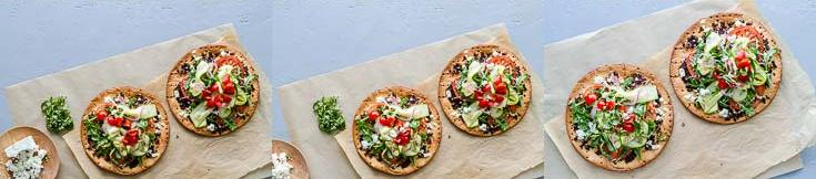 Steps from ten to twelve photos layering the vegetable pizza with store-bought cauliflower pizza crust, and Olive Bruschetta by Navarino Icons. Recipe at Spoonabilities.com