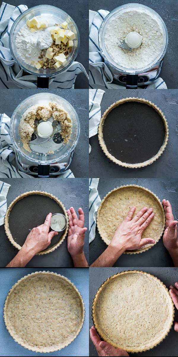 Step by Step how to make the almond shortbread crust for the lemon curd filling. Details of this recipe at Spoonabilities.com