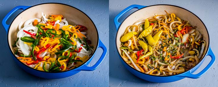Two photos in a blue cast iron casserole: One with raw veggies and another one with sauted veggies. Recipe at Spoonabilities.com