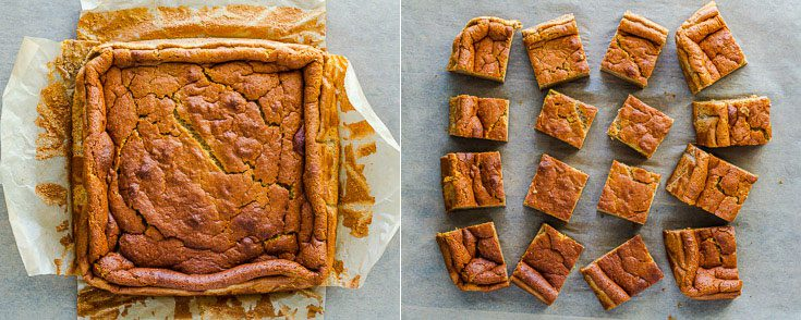 Two photos combine into one collage. The picture on the left is the pumpkin magic cake after cooled down and out of the baking dish; the image on the right side the cake was cut into a small square (16 pieces). Recipe at Spoonabilities.com