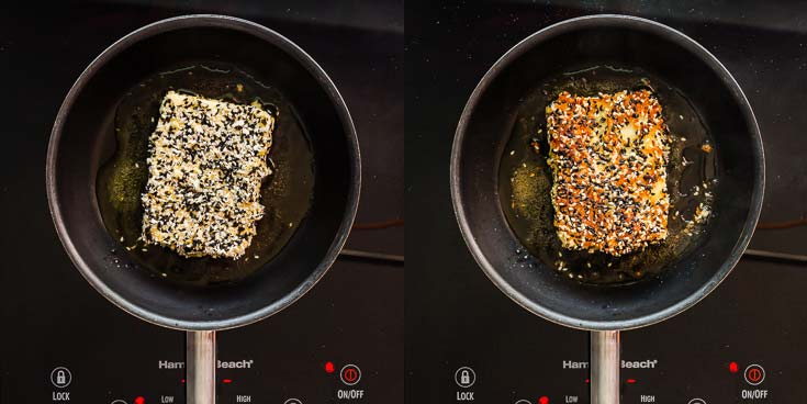 Pan frying the sesame crusted feta cheese. Two photos showing each side. recipe at Spoonabilities.com
