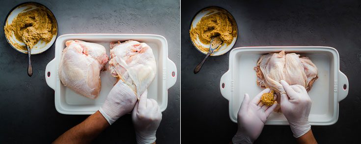 Two photos with the bone-in turkey breast with skin-on: The left side photo two hands are loosing the turkey skin and the second photo is adding the brown butter mix between the skin. Recipe at Spoonabilities.com